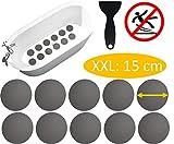 cocofy Große Anti-Rutsch Sticker für Dusche und Badewanne Ø 15 cm XXL Pads | grau | rund | Anti Rutsch Aufkleber auch für Kinder | [2020 Einführungsangebot]