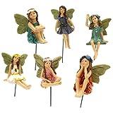 Garden Fairy Statues Set of 6 Angel Statue Mini Elves Statue Miniature Fairies Figurines Fairies Garden Bonsai Decoration Fairy Figurines Fairy Garden Accessories