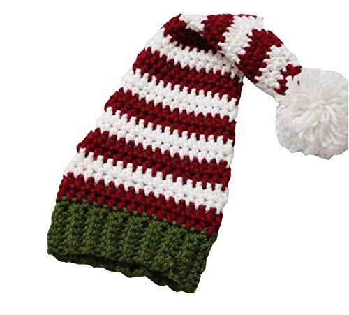 FFCVTDXIA Sombreros de Navidad, Novedad Adorable Rojo Rojo Rayado de Navidad Gorra de Navidad beb Colas largas con Estilo clido decoracin de Lujo Accesorios de Fiesta zhihao