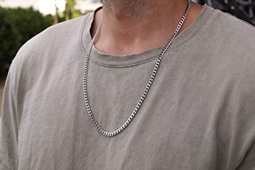 Silberne Glieder-Halskette für Herren aus Edelstahl - Massive Silber-Kette Glieder-Kette 60 cm - Made by Nami Handmade Herrenkette - Herren-Schmuck Männer (Kette, Silber)