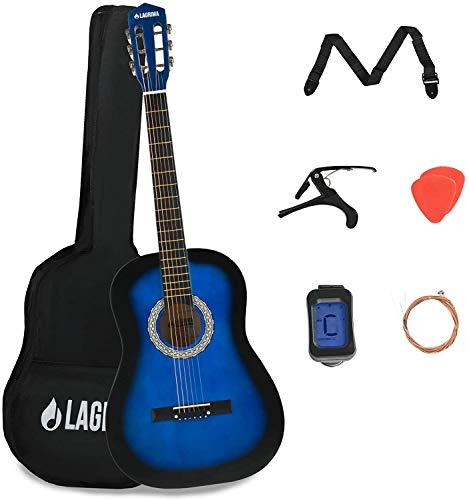 LAGRIMA 38 inch 4/4 Size Beginner Acoustic Guitar Starter Kit Kids Adult with Guitar Case, Capo, Strap, Tuner & Pick Steel Strings (Blue)