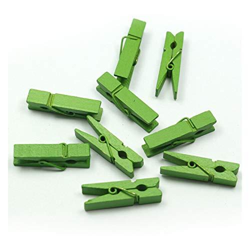 WQZCW Pinza de Madera 20 unids Mini coloreados de Primavera Memo Clips Clips Ropa Foto Papel Pin Pin PinPlin Craft Clips Fiesta Decoración Fuerte y Robusto (Color : Green)