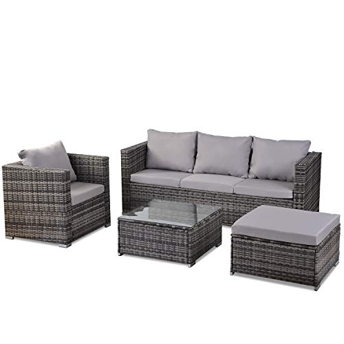 Nyyi Rattan Furniture Set 6 pieces Outdoor Patio Garden Furniture 5 Seater Sofa Set All weather PE Wicker Rattan Steel Frame (Grey)