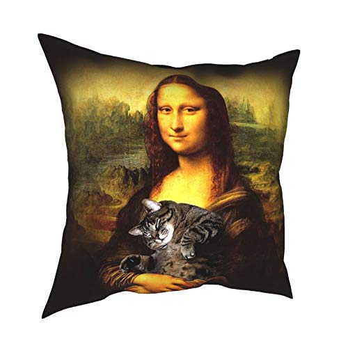 TNIJWMG Mona Lisa Fat Crazy cat Throw Pillow Cover, 18 x 18 inch Modern Solid Decorative Square Bedroom Living Room Cushion Cases for Couch Bed Sofa