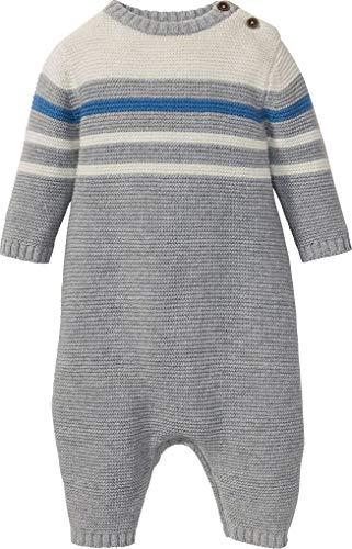 lupilu® Baby Jungen Strickoverall mit Wolle (grau naturweiß blau Streifen, Gr. 74)