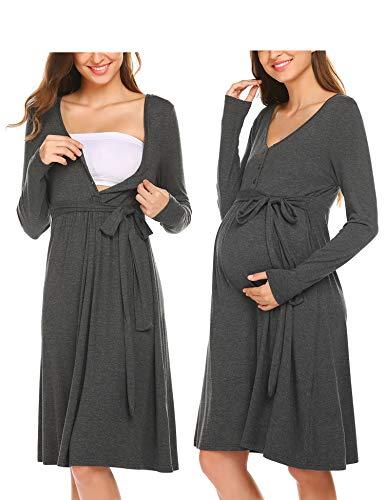 ADOME Frauen Pflege/Geburt/Krankenhaus Nachthemd Kurzarm Nachthemd Umstandsnachthemd mit Knopf Stillnachthemd für Schwangere und Stillzeit, A-grau, M
