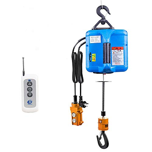 Hoist Electric Winch Electric Lifting Traction Hoist 3 in 1 Wireless Control 7.6m/25ft Wire Control Manual Control Overhead Lift with Overload Protection Blue Color 110V (500kg)
