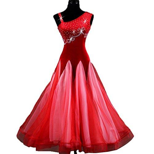 Vestido de Baile de Salón Nacional Estándar para Mujeres Collar Oblicuo Disfraz de Competencia Traje de Danza Moderna Baile Social Vestido de Vals Sin Mangas, Red, L