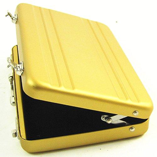 Gold Mini-Aluminium-Koffer, Aktentasche Sichere Business Credit Bank Card-Halter-Kasten-Kasten