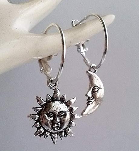 Pendientes Sol Y Luna Pendientes Asimétricos Aros Pendientes Celestiales Aros Bañados En Plata Pendientes De Aro Sta Gift
