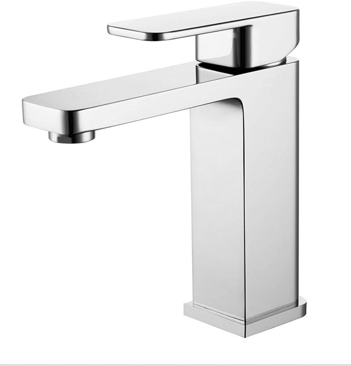 Xiujie Thickening Hot and Cold Wash Basin Copper Faucet Square Single Hole Single Wash Basin Double Faucet