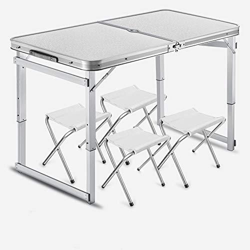 JIADUOBAO Mesa plegable pequeña para 4 personas con sillas para acampar, altura ajustable, mesa portátil de aluminio al aire libre para picnic, barbacoa, playa, fiesta, viaje (color: blanco)