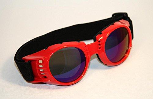 Preisvergleich Produktbild Motorradbrille rot,  Rainbow-getönte Gläser