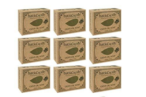 Olive Oil Soap Bar - Handmade 100% Pure Natural & Vegan - 5.7 oz Each Bar (9 Bars)