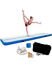 ReAct Air Track 3 m med luftpump, gymnastik luftmatta – uppblåsbar gymnastikmatta bäst för gymnastik träning och yoga – bärväska för enkel transport, torktumlare