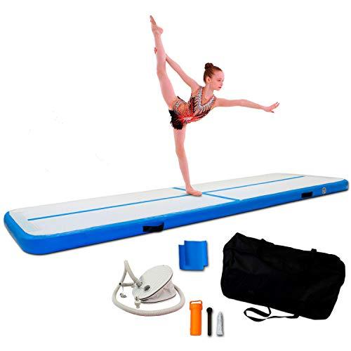 ReAct Airtrack gimnasia 3m - Con bomba de aire, estera de gimnasia inflable, lo mejor para la gimnasia, el yoga - Durable y fácil de transportar Mat Sports, Air Track colchoneta gimnasia