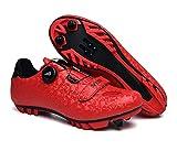 tangjiu Zapatillas de Bicicleta Unisex con Cerradura, Zapatillas de Bicicleta de Montaña Transpirables, Zapatillas Deportivas Antideslizantes Resistentes Al Desgaste Profesionales (Rojo,46EU)