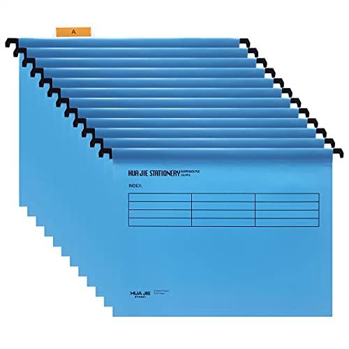Hängemappen A4 mit Tabs und Karteneinlagen für Aktenschränke (12 Stück, blau) Polypropylen A4 Hängeregistraturordner für Büro Zuhause Schule