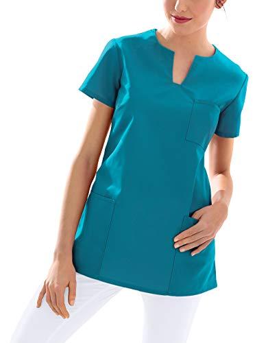CLINIC DRESS Schlupfkasack Kasack Damen für Krankenpflege und Altenpflege 95 Grad Wäsche Petrol XL