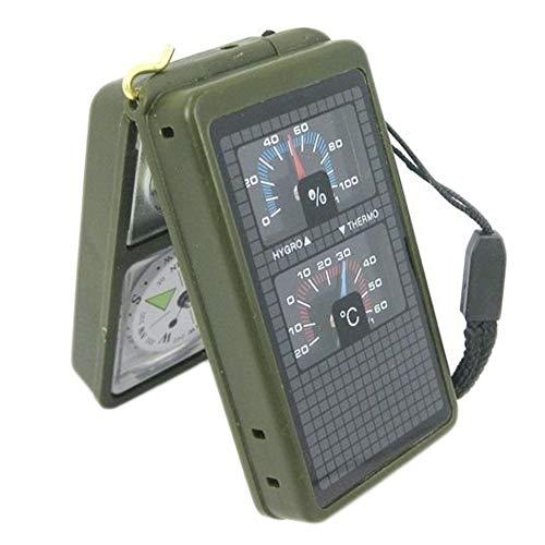 CyberDyer Outdoor Militare 10in 1Kit di Sopravvivenza di Compass Mini Powerful Bussola con Luce LED termometro fischio Livello Specchio Lente d' ingrandimento Righello Flint Fire Starter, Outshine