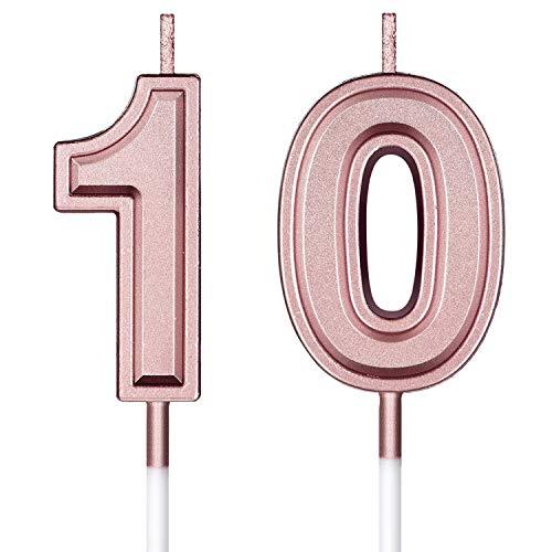BBTO 10. Geburtstag Kerzen Kuchen Nummer Kerzen Alles Gute zum Geburtstag Kuchen Topper Dekorationen für Geburtstag Hochzeit Jahrestag Feier Zubehör, Rose Gold
