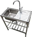 Sinks Évier de Cuisine, Mobile en Acier Inoxydable extérieur du Bassin Unique avec Support, Home Restaurant Basin Rack, étagère Console Vaisselle, for Restaurant en Plein air