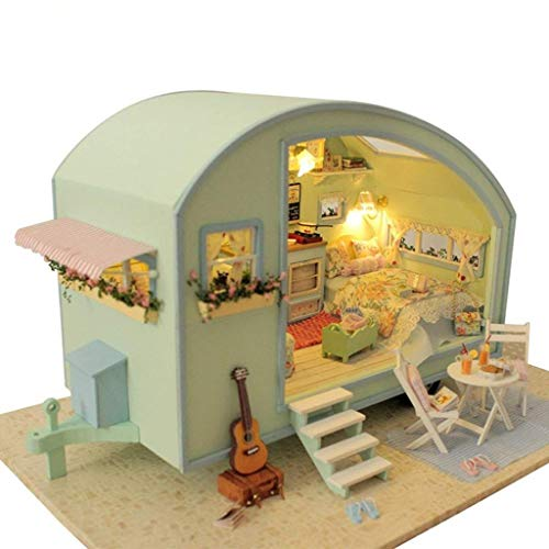 Architecture Model Building Kits with Furniture LED Music Box Miniature Wooden Dollhouse Time Travel Series 3D Puzzle Challenge