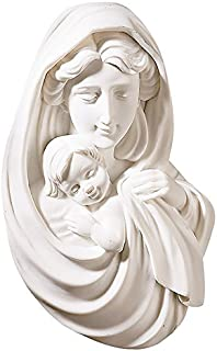 Blessed Mother Mary with Infant Jesus Christ Pearl White Wall 6