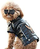 Stickit Graphix Dog Winter Coat Pu Leather Motorcycle Jacket for Dog Pet Clothes Leather Jacket, Waterproof (Medium)