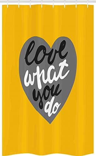 ABAKUHAUS Zitat Schmaler Duschvorhang, Graustufen- Herz auf Gelb, Badezimmer Deko Set aus Stoff mit Haken, 120 x 180 cm, Mustard Grau & Schwarz