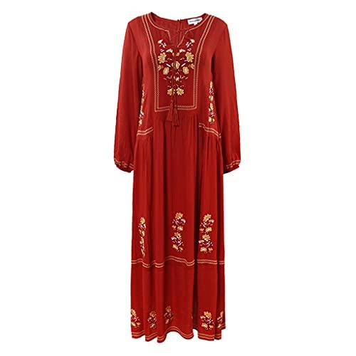 GDSSX Faldas de Playa Faldas para Mujer Faldas de Vacaciones Bohemian National Style Faldas largas Vestidos Bordados Rojos Vestidos de Traje de baño Ruegos de baño Cubiertas Swimwear.