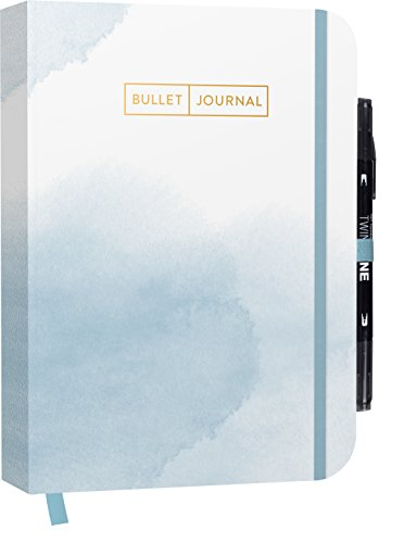 "Bullet Journal ""Watercolor Blue\"" 05 mit original Tombow TwinTone Dual-Tip Marker 33 black: Mit Punkteraster, Seiten für Index, Key und Future Log ... praktischem Verschlussband und Innentasche"