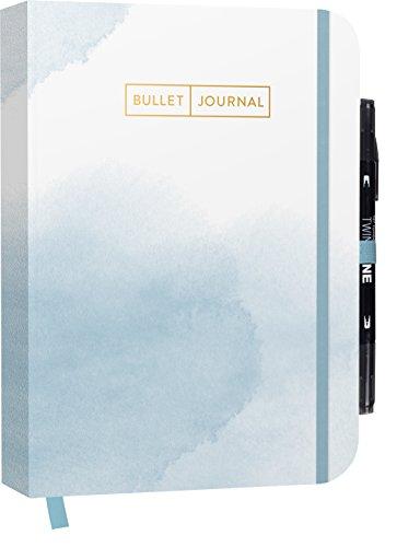"""Bullet Journal \""""Watercolor Blue\"""" 05 mit original Tombow TwinTone Dual-Tip Marker 33 black: Mit Punkteraster, Seiten für Index, Key und Future Log ... praktischem Verschlussband und Innentasche"""