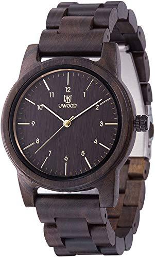Relojes de Madera,MUJUZE Clásico Reloj de Cuarzo para Hombre Negro Dial Sándalo Negro Relojes Unisexo con Punteros Dorados