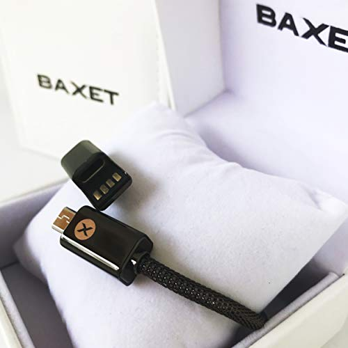 BAXET - Braccialetto di Ricarica Unisex   Cavetto Portatile in Metallo microintrecciato   Bracciale USB Trasmissione Dati   Idea Regalo Tecnologico (Gun, 20cm Micro)