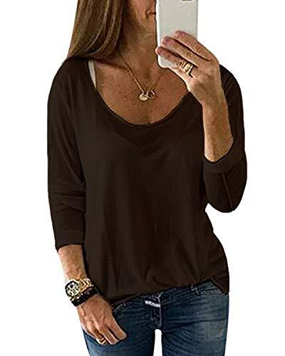 YOINS Pulli Damen Langarmshirt Sweatshirt Rundhals Ausschnitt Oversize Hemd Jumper Bluse Tops Kaffee EU40-42