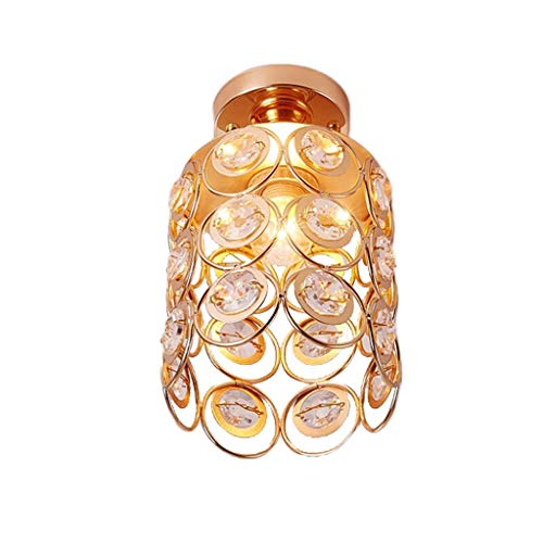 YANQING Duurzame Plafond Lichten LED Smeedijzer Crystal Hollow Plafond Lamp Aisle Lamp Plafond Lamp Corridor Lamp Veranda Plafond Lamp Balkon 15 * 27cm Plafond Lichten (Kleur : Goud, Kleur:Goud