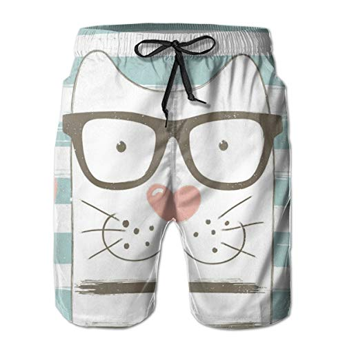 DHNKW Men's Swim Trunks Board Shorts Beach Pants Surfing Boardshorts,Hipster Cartoon Cat with Glasses Hearts and Stripes and Quotation Art,Fancy Print Hawaiian Shorts Four Size,XL
