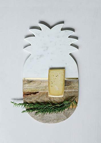 Creative Co-op Marble & Mango Wood Pineapple Cutting Tray Cheese Board, White