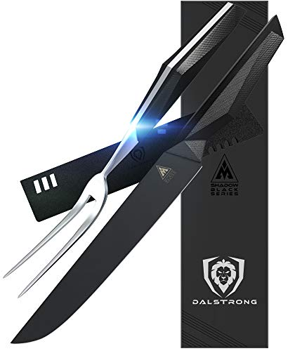 DALSTRONG Carving Knife & Fork Set - 9' Blade - Shadow Black Series - Black Titanium Nitride Coated...