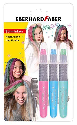 Eberhard Faber 579205 - Haarkreide für trendige Frisuren und neue Haarfarben, 3 Stück, in metallic-rosa, metallic-blau, metallic-grün inklusive Kamm, einfache Anwendung, leicht abwaschbar