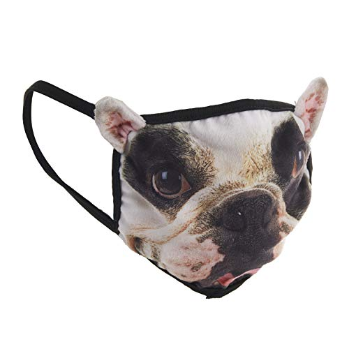 Animal Kind French Bulldog Puppy Mask, Breathable Fabric Face Mask with Animal Design, 2 Pack