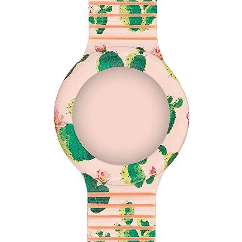 Hip Hop Cinturino per Orologio da Donna per Cassa da 32 mm, Colore Rosa con Stampa Cactus in Silicone Morbido Resistente all'Acqua HBU0673
