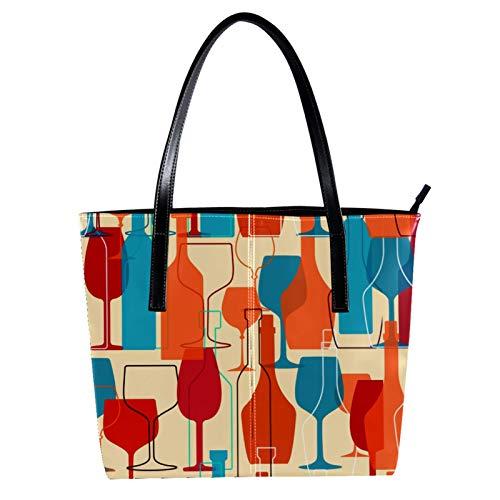 LORVIES Weinglas-Modell Umhängetasche aus PU-Leder und Handtasche für Damen