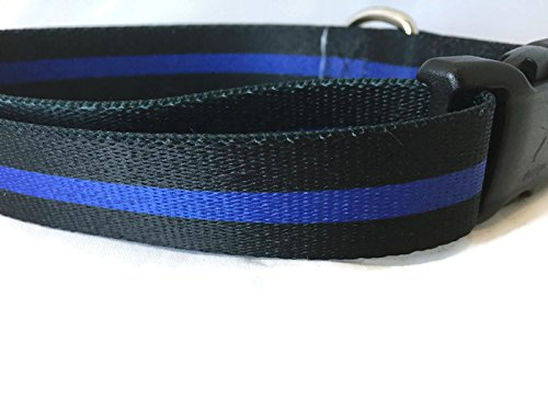 Police Dog Collar, Caninedesign, Side Release Buckle, 1 inch Wide, Adjustable, Nylon, Medium and Large (Thin Blue Line, 18-26 inches)