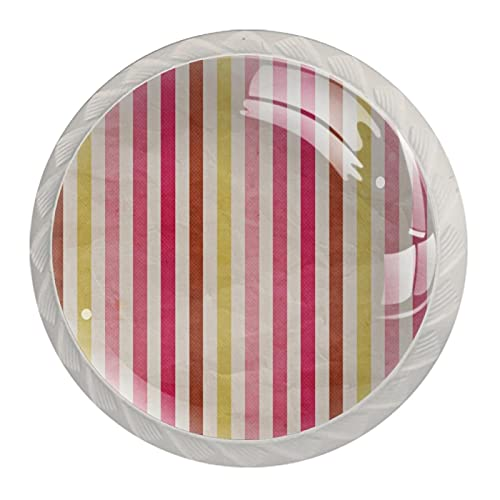 Tiradores redondos de gabinete de cocina de ABS de estilo Mord, con diseño de rayas, color marrón, rosa, amarillo, 4 unidades