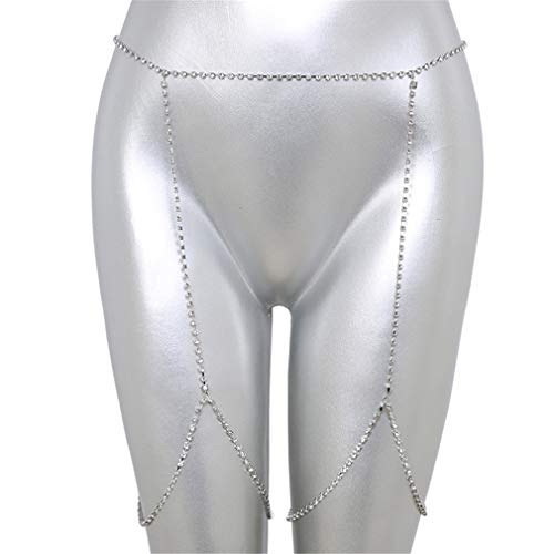 LIXIAQ1 Simulierter Diamant Sexy Bauchkette Vintage Taille Gürtel Ketten Sommer Strand Bikini Badeanzug Körperschmuck, Silber