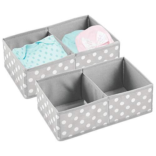 mDesign - Opbergmand - organizer voor babykamer en kledingkast - kleding, slabbetjes, handdoeken - 2 compartimenten/stof - grijs/wit - per 2 stuks verpakt