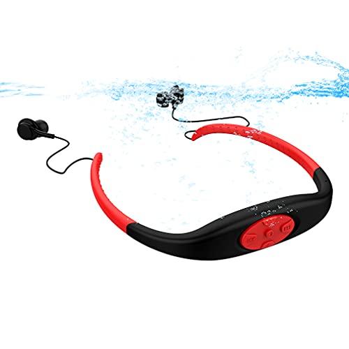 AQUYY Auriculares Deportivos Natación Inalambricos Cascos Estéreo Bluetooth 5.0, Auricular para Reproductor de MP3 para Natación de 8GB, Auriculares In-Ear Impermeable IP68 para Correr Fitness Red