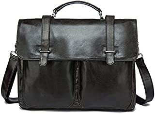LIUFULING Men's One-Shoulder Bag with Head Layer Cowhide Genuine Leather Business Briefcase Message Bag (Color : Gray)